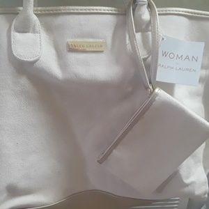 NWT Ralph Lauren Canvas Tote Bag w/Small bag